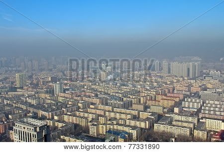 Harbin In Smog, China