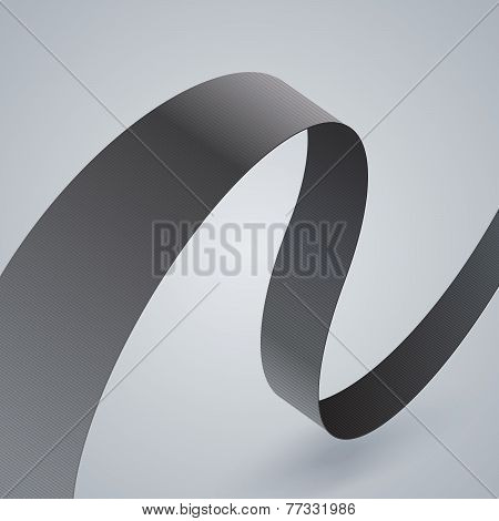 Gray fabric curved ribbon on grey background