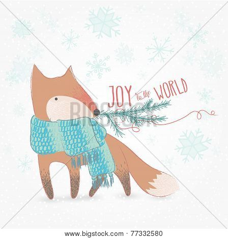 Joy To The World Christmas Card With Cute Fox