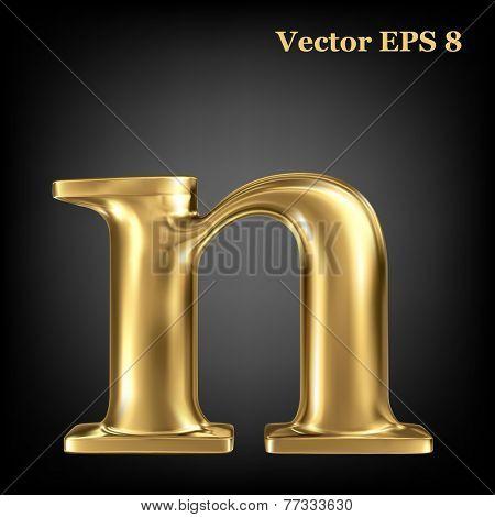 Golden shining metallic 3D symbol lowercase letter n, vector EPS8
