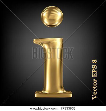 Golden shining metallic 3D symbol lowercase letter i, vector EPS8