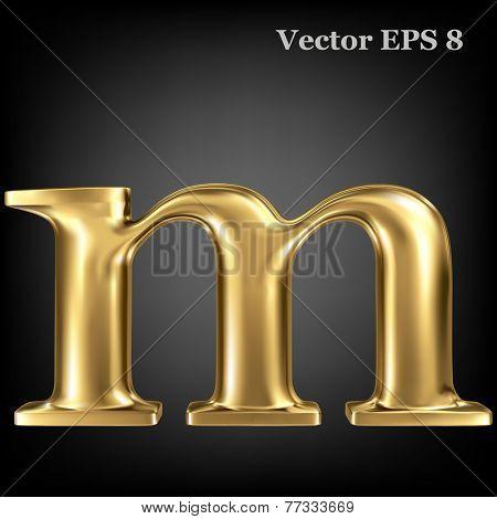 Golden shining metallic 3D symbol lowercase letter m, vector EPS8