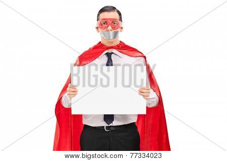 Hostage in superhero costume holding blank banner isolated on white background