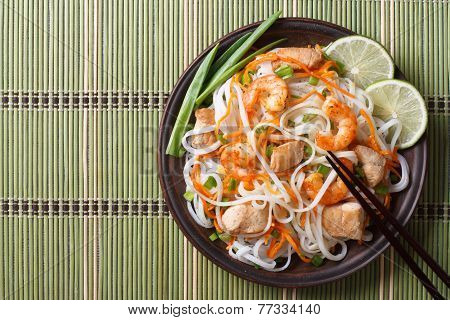 Asian Food: Rice Noodles With Chicken, Shrimp And Vegetables