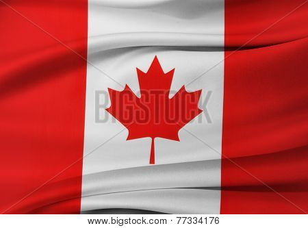 Closeup of silky Canadian flag