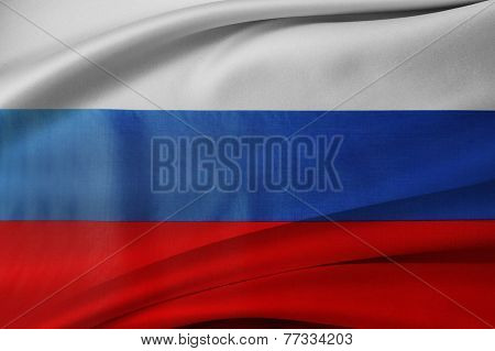 Closeup of silky Russian flag