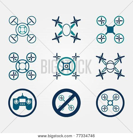 Quadrocopter vector flat icons set - drone symbols