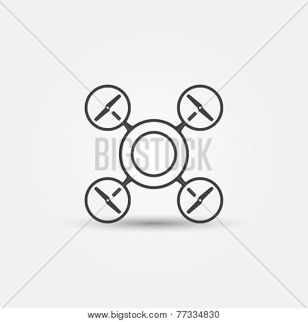 Quadrocopter vector icon - drone black concept