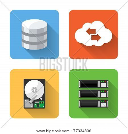 Flat Data Storage Icons. Vector Illustration