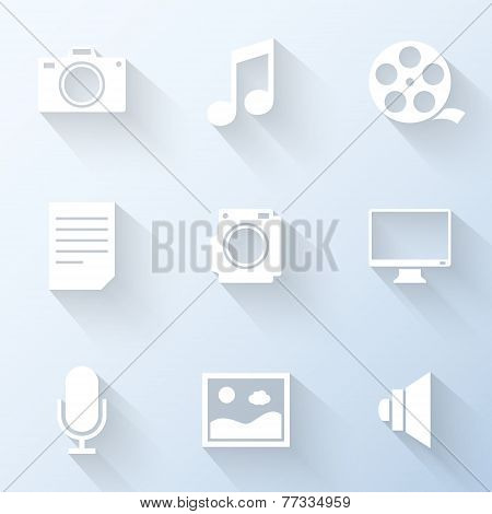Flat Multimedia Icons. Vector Illustration