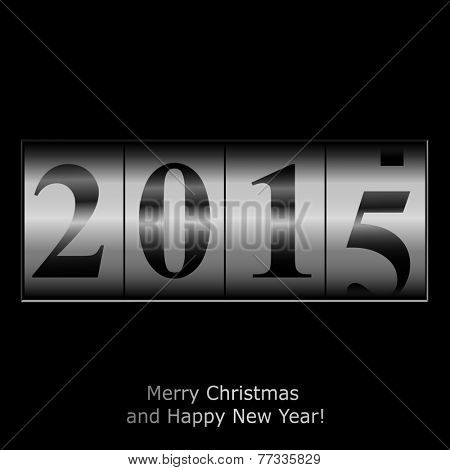 New Year counter in silver design. Raster illustration