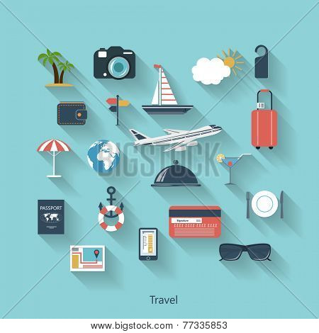Travel and tourism modern concept in flat design with long shadows and trendy colors for web, mobile applications, layouts, brochure covers etc. Raster  illustration