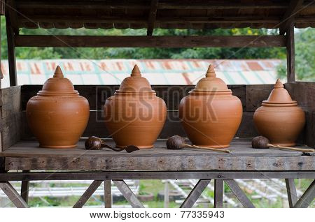 Large Earthenware Water Container Is The Thai Way Of Life