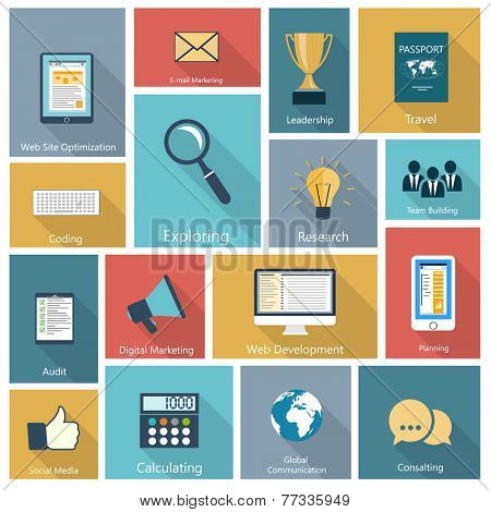 Set of modern icons in flat design with long shadows and trendy colors for web, mobile applications, digital marketing, consulting, social networks, planning etc. Raster illustration