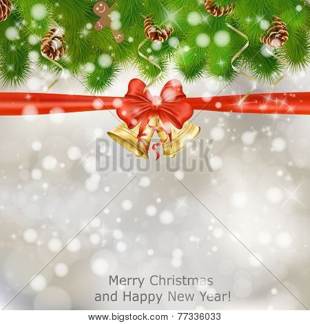 Xmas greeting card with fir branches and Christmas bells. Raster illustration