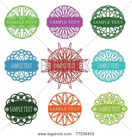 Set Of Typographic Elements, Spirograph Labels, Frames And Ornaments