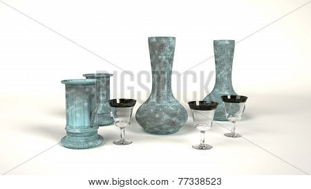 Glass And Iron With Verdigris