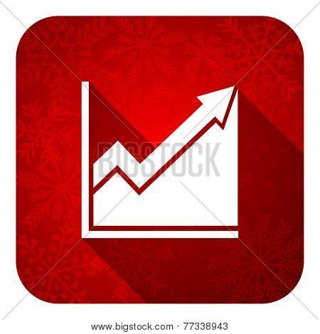 histogram flat icon, christmas button, stock sign