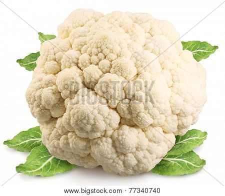 Cauliflower (cabbage) isolated on white background. Clipping path.