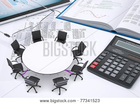 Round table, tablet pc, book, calculator, glasses, paper with columns of figures