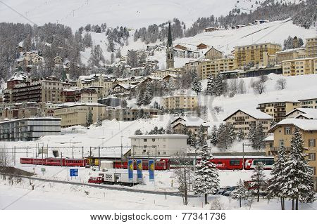 Winter view of  the exclusive ski resort of St. Moritz, Engadine valley, Switzerland.