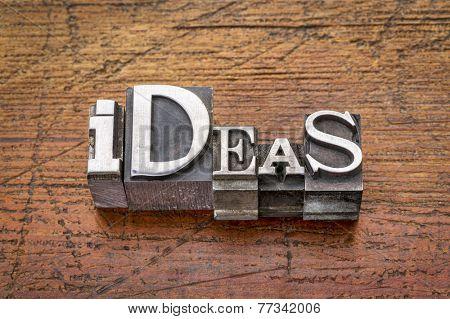 ideas word in mixed vintage metal type printing blocks over grunge wood
