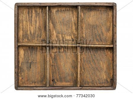 small wooden primitive type case (drawer) isolated on white