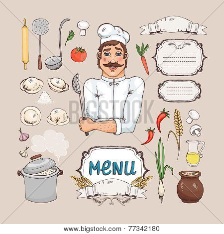 Menu for russian cuisine