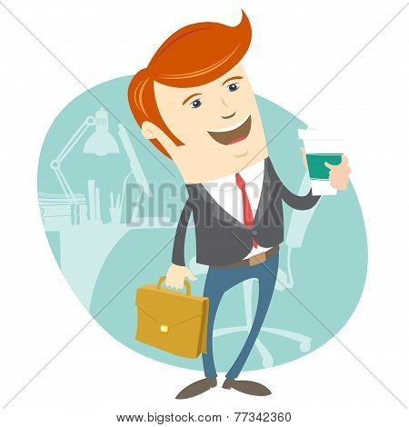 Hipster office man holding coffee and brief case in front of his