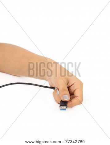 Hand With Usb 3.0 Cable Plug