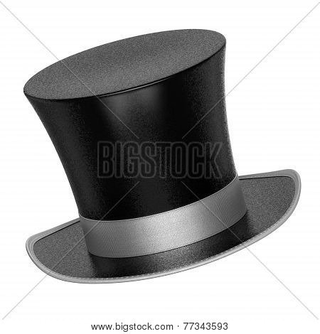 3D Rendered Black Decoration Top Hat With Silver Ribbon