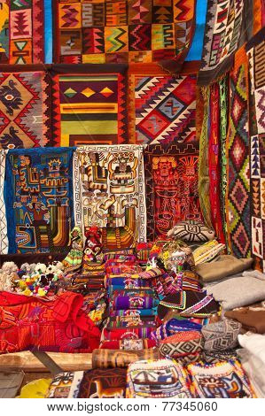 Handicrafts sold on Inca Market in Pisac, Peru
