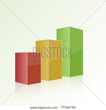 Step by step multi-colored chart with positive growth.