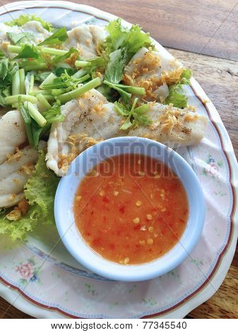 Clsoed Up Boiled Fish Dip With Spicy Sauce