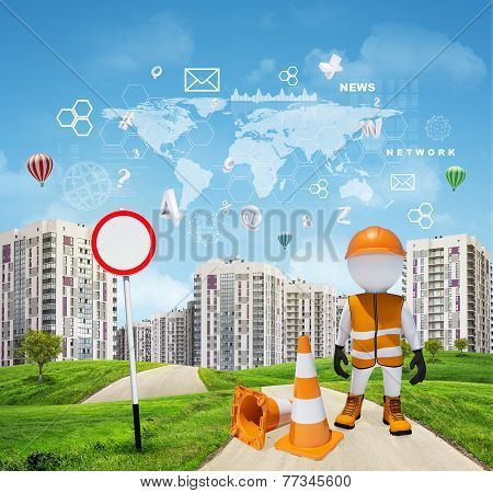 Three-dimensional worker on road running through green hills towards city. Charts and other virtual