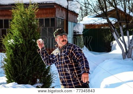man playing snow