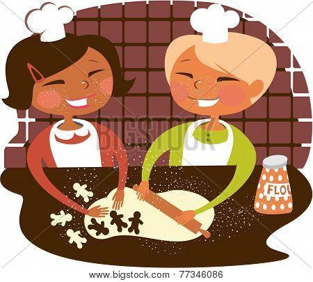 Little kids baking ginger cookies