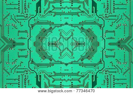 Green Symmetrical Electronic Microcircuit Taken Closeup.background.