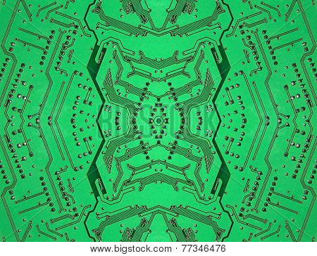 Green Symmetrical Electronic Microcircuit Taken Closeup.