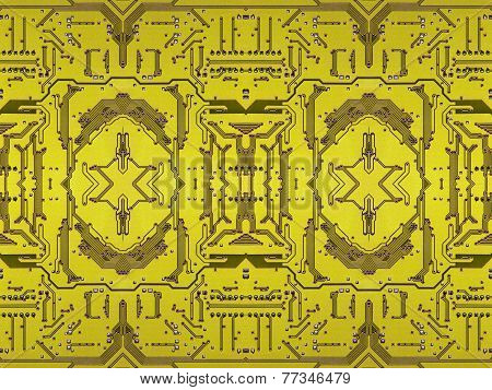 Yellow Electronic Microcircuit Taken Closeup.background.
