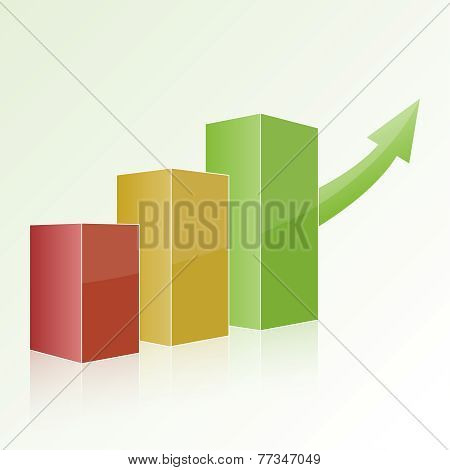 Step by step multi-colored chart with positive growth and green