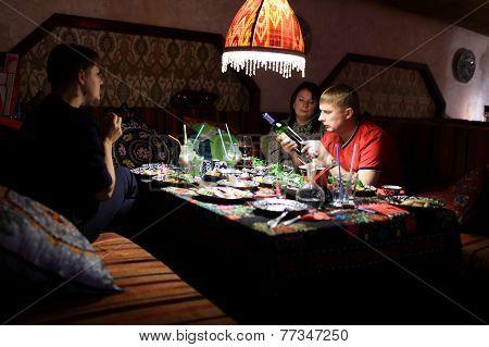 Friends In Uzbek Restaurant