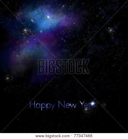 New Years Greeting with Space Background