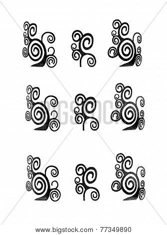 Seamless ethnic primitive patterns for background or design in monochrome isolated over white