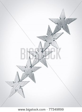 Five silver Stars, asterisks on gray and white background