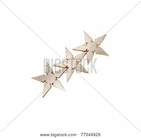 Three silver Stars, asterisks isolated over white background
