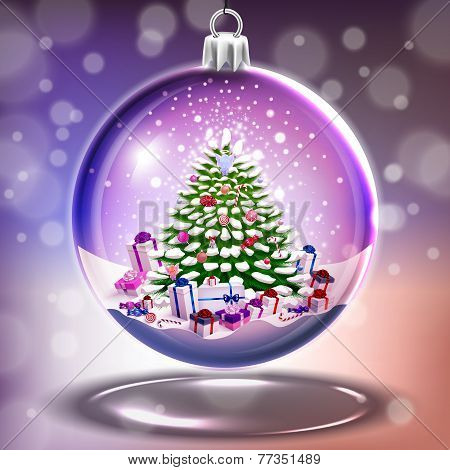 Crystal Glass Ball With Christmas Tree In Vector