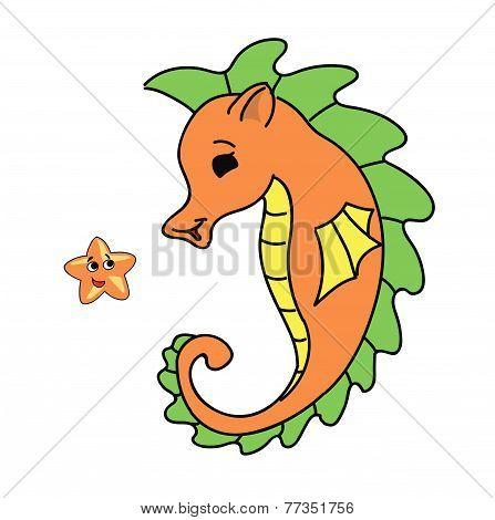 seahorse cartoon  illustration