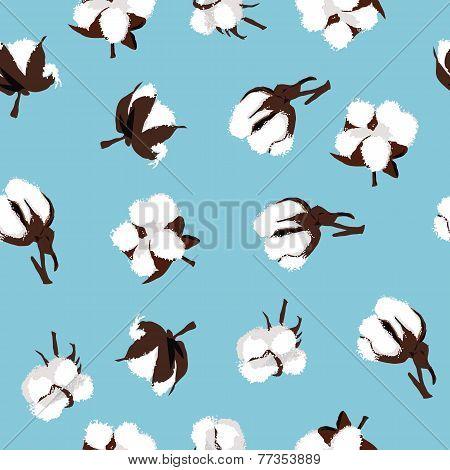 Cotton bolls cyan seamless vector pattern