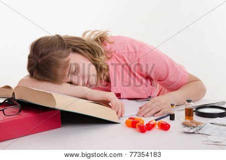 Tired Pharmacist Sleeping On The Reference